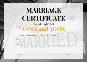 Wedding certificate sample