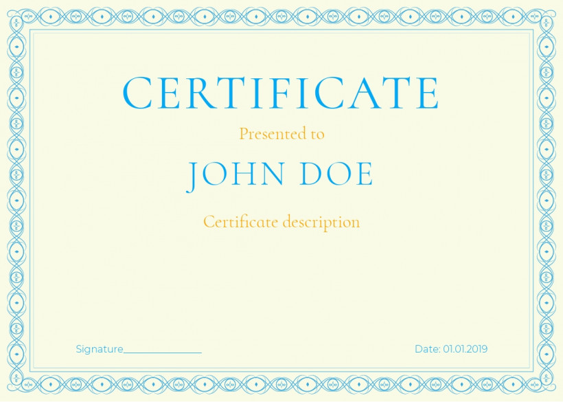 Certificate of appreciation, completion, recognition, achievement, participation template