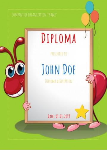 Certificate for kids, diploma sample E