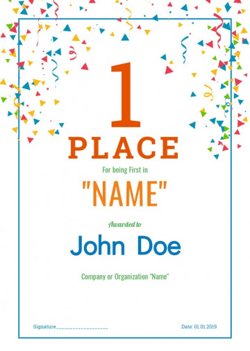 Award, First place certificate sample