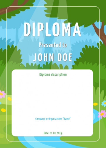 Certificate for kids, diploma sample A