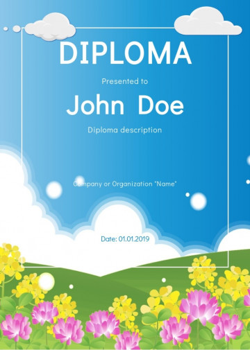 Certificate for kids, diploma sample D