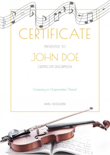 Music certificate sample