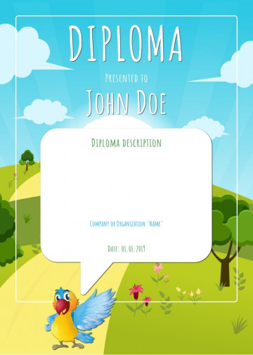 Certificate for kids, diploma sample C