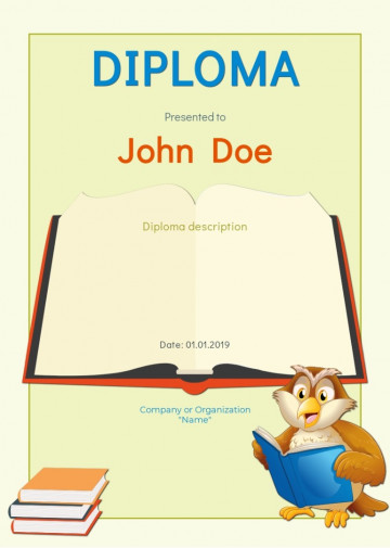 Literature certificate, diploma sample