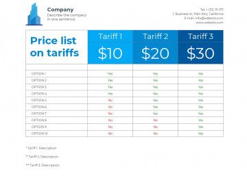 Price list template L